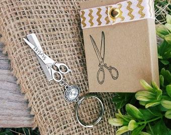 Fancy White Rhinestone Hair Stylist Scissor Charm Keychain
