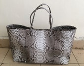 CUSTOM TOTE BAG - Extra Large Natural Tote Bag Python Snakeskin Leather with Blue Python Trim