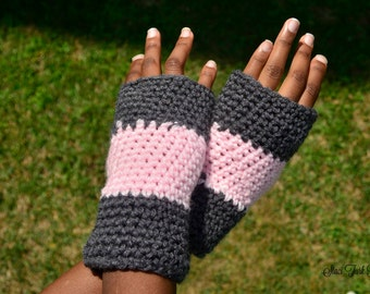 Pink fingerless gloves for women - Pink fingerless gloves for girls - Crochet fingerless gloves for women -Knit fingerless gloves for girls
