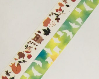 1 Roll of Japanese Washi Tape (Pick 1) -Autumn Fall and Fox OR Peace Dove