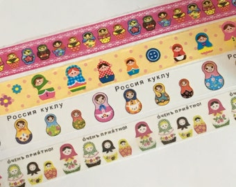CLEARANCE SALE: 4 Rolls of Japanese Washi Tape-  All About Matryoshka Dolls