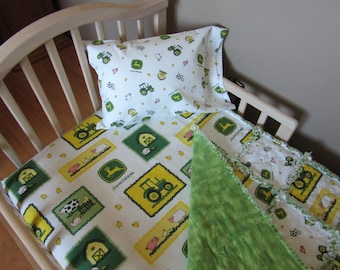 Toddler Bed JOHN DEERE Farm Animal Fabric Baby Crib Bedding Set Large Rag Quilt Sheet &  Pillow Case