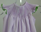 READY to SMOCK Angel Sleeve Bishop in 100% Cotton Gingham, Ready to Smock ANGEL Sleeve Bishop