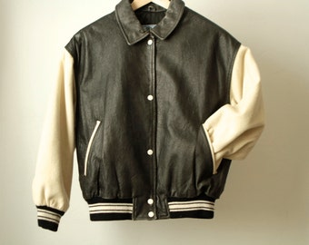 vintage 90s LETTERMAN's jacket black & white LEATHER and wool coat
