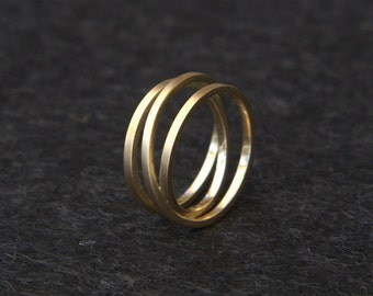 9ct Gold Triple Twist Ring - Engagement Ring - Wedding Ring - Eternity Ring - 9ct yellow gold