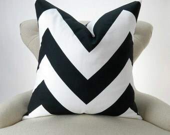 Black Chevron Pillow Cover -MANY SIZES- Black & White Throw Pillow, Large Zigzag, Cushion Cover, Euro Sham,  Zippy Premier Prints, FREESHIP