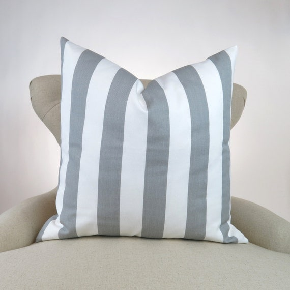 gray stripe pillow cover many sizes euro sham decorative. Black Bedroom Furniture Sets. Home Design Ideas