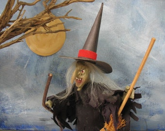Vintage witch figure handmade polymer clay wicked witch Halloween decor miniature figure with broom