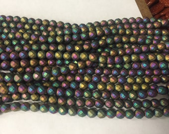 8mm hematite round faceted beads , around 48beads