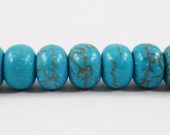 """Howlite Gemstone Rondelle Beads 6x3mm Dyed Turquoise Howlite Stone Beads, Blue Gemstone Doughnut Beads on a 7 1/2"""" Strand with 55 Beads"""