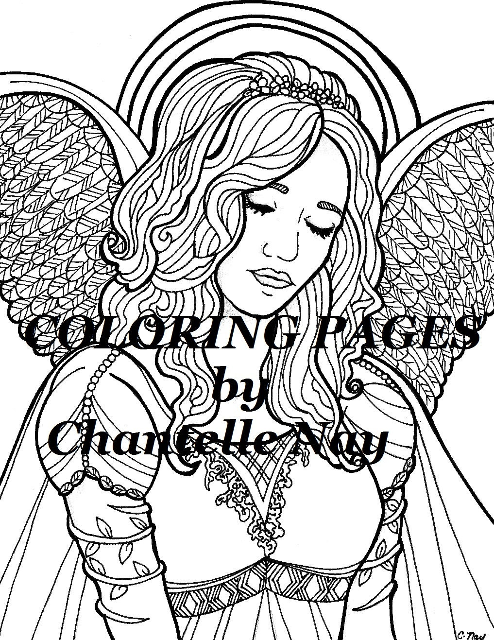 kylie coloring page angel woman face coloring