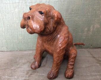Antique Leather Dog Sculpture