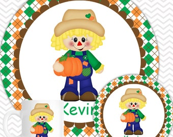 Scarecrow Boy Plate & Bowl Set - Personalized Scarecrow Plate Set - Customized Plate and Bowl - Melamine Plate and Bowl Set for Kids