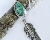 Natural Blue Gem Turquoise Sterling Feather Necklace Ready to Ship by ShesSoWitte
