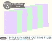 SVG 6-Tab DIVIDER PAGES for Personal Size Planner – Die Cutting Files (Design A)