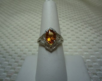 Oval Cut Citrine Ring in Sterling Silver  #1627