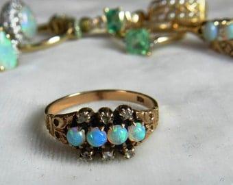Opal Ring Opal Engagement Ring Antique 14K Rose Cut Dia Aesthetic Period Art Nouveau Semi Black Opal Ring October Birthstone Libra