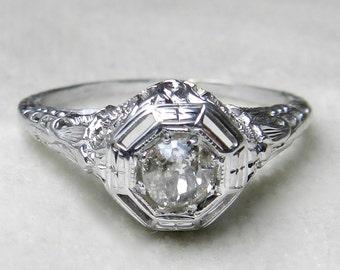 Art Deco Diamond Ring .40 Ct. Old European Cut Engagement Ring Mine Cut 1920s Orange Blossom 14K Antique Diamond Engagement Ring