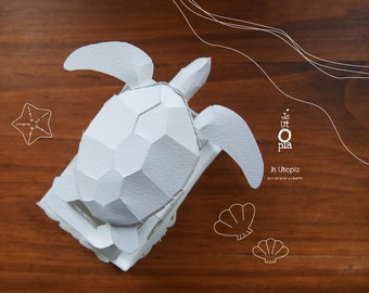 Sea Turtle Automata Paper Toy Kit / 3D Automata Puzzle Kit
