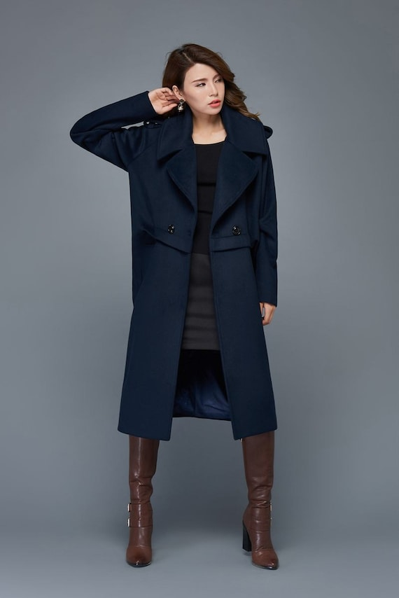 Navy coat blue overcoat wool coat womens coats winter