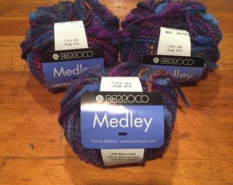 3 skeins Borroco Medley Yarn 8923 Blues and Purples