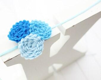 Felt flower headband- Blue - Baby girl headband-Gift-Girl headband -Hair accessory -Toddler headband- Babyshower