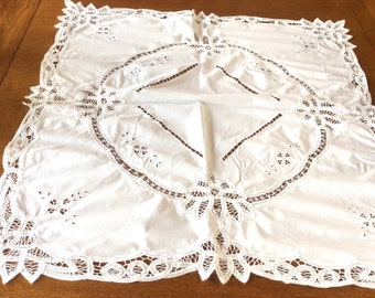 Vintage Battenburg Lace Tablecloth, White Cotton with Embroidery, Square Tablecloth, Excellent Condition, 1960s