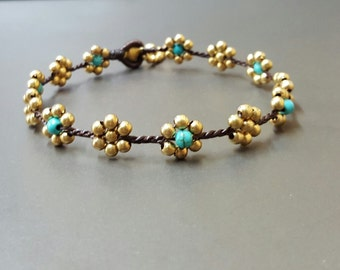 Flower  Turquoise Brass  Anklet