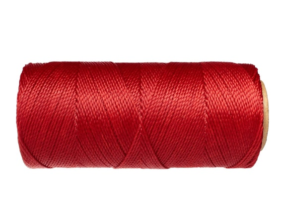 Linhasita Macrame Cord, 16 yards, Knotting Cord, Waxed Polyester - Bright Red