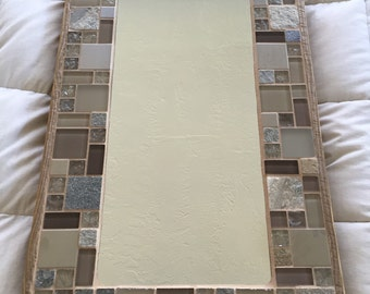 Taupe Tile Mirror with wood frame