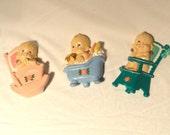 Mid Century Modern Chalkware Babies Room Decor Lot of 3 Cupie Doll Scenes Eat Sleep Wash Pink Flowers Girl