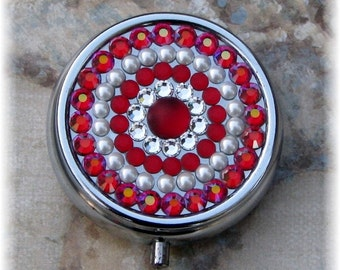 Silver Metal Rhinestone Crystal Bling Preciosa Red Matte Swarovski White Pearl Pill Medication Box Case Holder Gift for Her