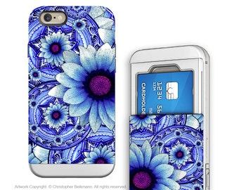 Apple iPhone 6 6s Card holder Case with Blue Floral Art - Talavera Alejandra - Artistic Credit Card Apple iPhone 6s Case with Rubber Sides