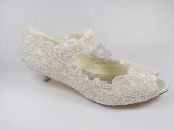 Eliza Mae - Ivory Pearl & Lace Vintage Peep Toe 1, 2, 3, 4, 5, or 6 Inch Low Mid Kitten or High Heel Shoes