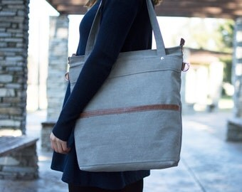 Waxed canvas bag - Canvas Tote bag - Laptop tote bag - LARYS in Grey