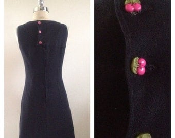 ON SALE 1960s Vintage Black Jumper Dress With Cherry Buttons Size M