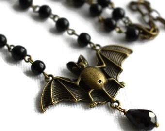 Bronze Bat Necklace, Black Bat Necklace, Vampire Bat Necklace, Gothic Jewellery, Alternative Jewellery, Halloween Jewellery