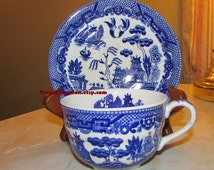 Tea Cup & Saucer, Blue Willow Pattern, Made in Occupied Japan, Blue and White Kitchen Decor, Teacup Saucer Set - BreezyJunction.etsy.com