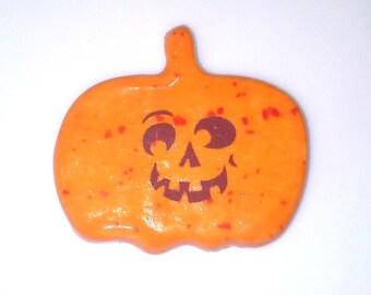 Silly Face Jack O Lantern Ceramic Magnet, Halloween Decor.  Teal Halloween