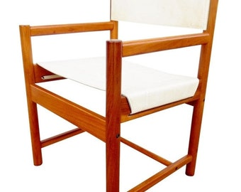 ON SALE Michel Arnoult Imbuia & Leather Chairs - Set of 4