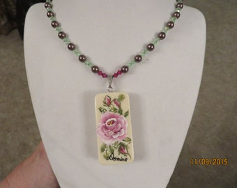 Hand-Painted Rose with Hummingbird Domino with Swarvoski Crystals and Pearls and Earrings Set