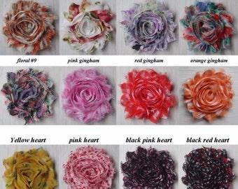 "50 Shabby Flower Grab Bag ~ SOLIDS, PRINTS & SHIMMERS ~ 2.5"" Chiffon Flowers"