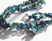 Vibrant Colored Crocheted Lanyard: Aqua Blue, Green, Royal Blue