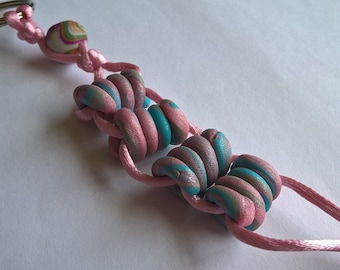 OOAK Stress Relief Keychain- Handmade Polymer Clay Beads: Pink, Sky Blue, Grey, Pink Silky Cord