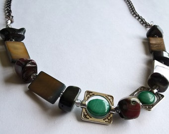 "OOAK 18"" Toggle Clasp Necklace: Red/Green Dyed Coral Beads, Green & Orange Dyed Shell Beads, Natural Malachite Beads"