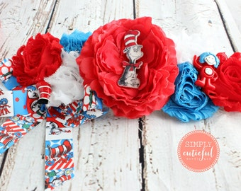 Dr Seuss Cat in the Hat Baby Shower Maternity Sash Photo Prop for Mommy to Be in Red White and Blue Corsage
