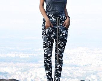 NEW Fall Loose Casual Drop Crotch Harem Pants / Extravagant Military Pants/ Side zipper pockets Camoflage pants by AAKASHA A05313