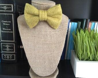 Green Wool Felt Bow Tie