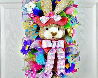 Easter Bunny Swag, Easter Egg Deco Mesh Swag, Pink Blue, Front Door Wreath, Purple Green, Verticle Swag, Spring Door Hanger, Spring Decor