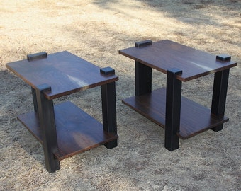 Modern walnut and steel end tables or nightstands